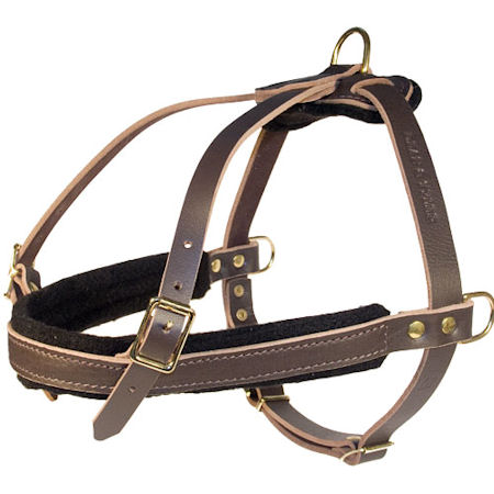 Brown Tracking Leather Dog Harness for All Breeds