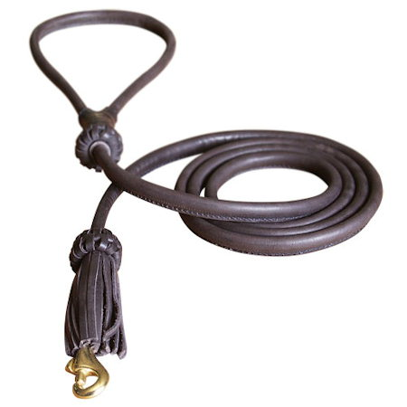 Leather Round Dog Leash 1/4 inch for all dogs