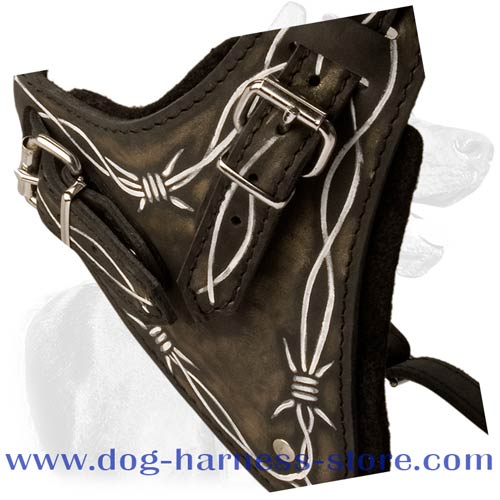 Solid Leather Handcrafted Dog Harness with Hand Set Pattern