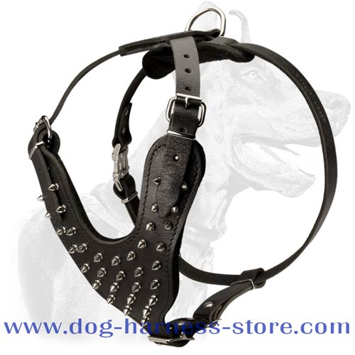 Strong Leather Harness with Y-Shaped Chest Plate that Averts Stress from Dog's Neck and Saves it from Injuries