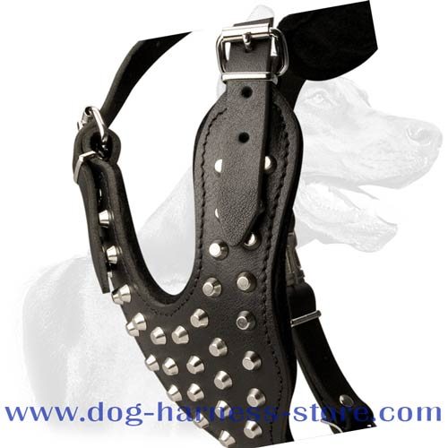 Durable Leather Dog Harness with Decorated and Felt Padded Y-shaped Chest Plate