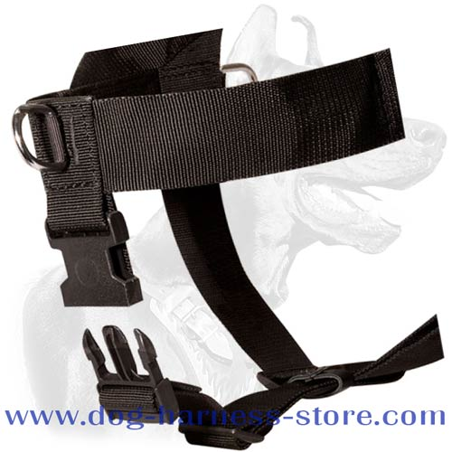 Quick release buckle fastening the removable strap on dog harness