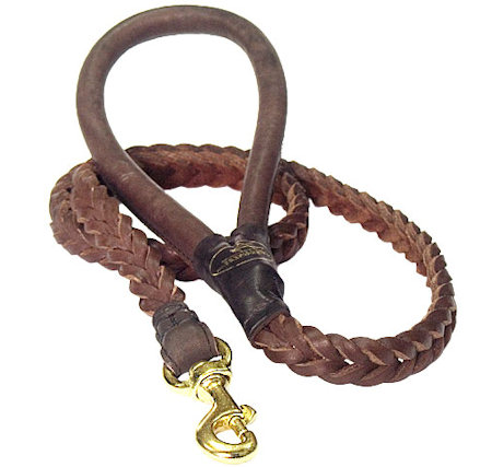 Braided Leather Dog Leash 4 foot-Braided Lead every day walking dogs