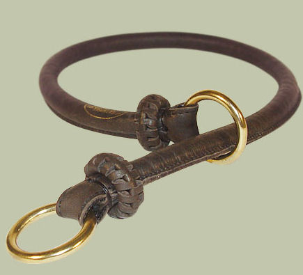 Round Leather Slip Collar-Rolled Choke Collar for walking dogs