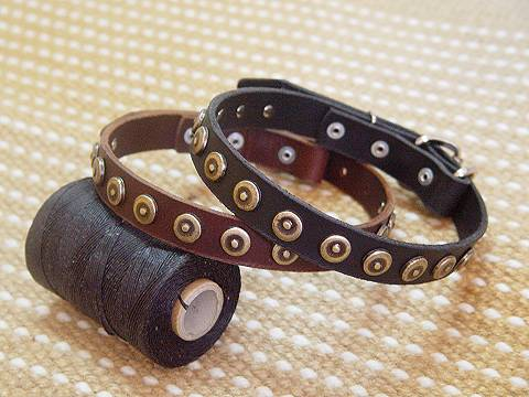 Gorgeous Leather Dog Collar With Dotted Circles for dog training or for dog owners