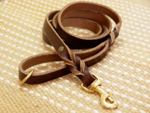 Handcrafted brown leather dog leash for walking and tracking for dog training or for dog owners