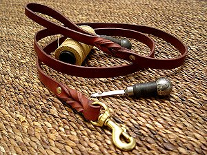 Handcrafted leather dog leash for walking and tracking for dog training or for dog owners
