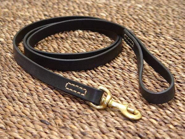 Leather dog leash stitched for dog training or for dog owners