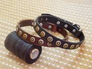 Gorgeous Wide Leather Dog Collar With Doted Circles