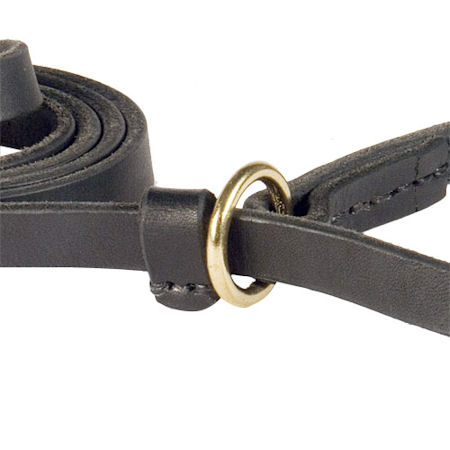 Handcrafted leather dog leash width 1/2 inch with brass plated fittings