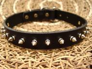 Leather spiked dog collar-1 Row of spikes collar for all breeds