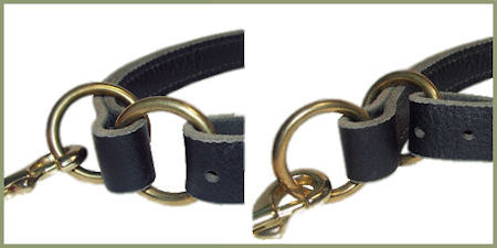 solid BRASS Leather Slip Collar